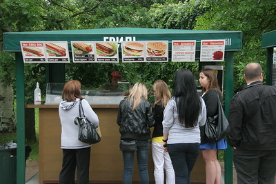 Food stand serving hot dogs and hamburgers, St. Petersburg, Russia