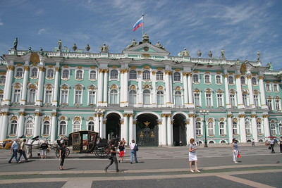 The entrance to the Winter Palace and Hermitage Museum, St. Petersburg, Russia