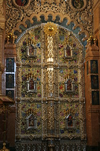 The gilded iconostasis at St. Nicholas Cathedral, St. Petersburg - from the mid-1700's