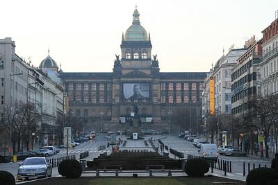 Early morning over Václavské náměstí (Wenceslas Square) (10.03.2015).