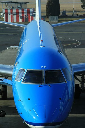 Close-up of KLM Cityhopper Embraer ERJ-190 PH-EZB after arrival at Prague Airport with KL1351, 06.45 AMS - PRG (10.03.2015).