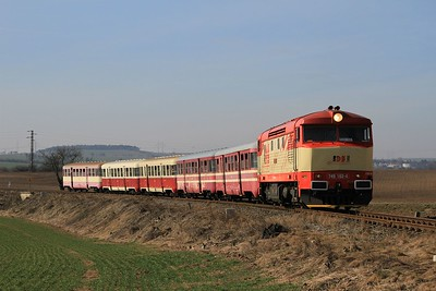 Another couple of km along the line and it was time for the next photostop. 749 162 between Tmáň and Kmetinĕves with R112381, 10.10 Zlonice - Straškov (09.03.2015).