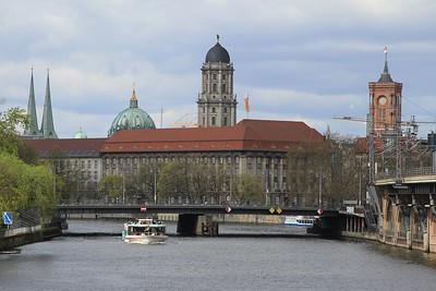 Looking down the River Spree in Berlin towards the Museumsinsel (Island of Museums) (19.04.2015).