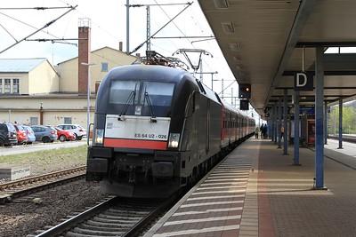 MRCE 182 526 at Gotha with RB16312, 09.23 Halle (Saale) Hbf - Eisenach (17.04.2015).