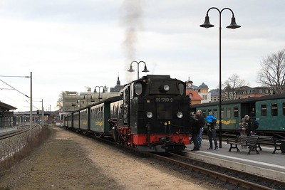 99 1789 after arrival at the remodelled Radebeul Ost with P3009, 15.41 Radeburg - Radebeul Ost (21.02.2015).