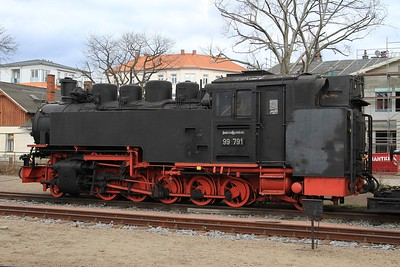 99 791 as a static exhibit at Radebeul Ost (21.02.2015).