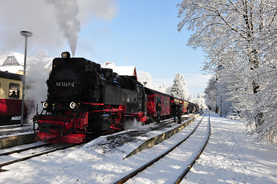 99 7247 with 10:16 Nordhausen Nord - Brocken service at Drei Annen Hohne (25.01.2014)