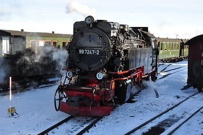 99 7247 waits to run round at Brocken station (25.01.2014)