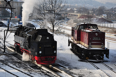 "Wernigerode steam shed with 99 7247 and ""Harzkamel"" 199 874 present (25.01.2014)"