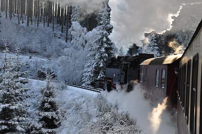 99 7247 heading 11:55 Wernigerode - Eisfelder Talmühle through the icy forest between Wernigerode and Drei Annen Hohne (25.01.2014)