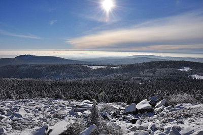 The view looking west down on clouds from near the summit of the Brocken (25.01.2014)