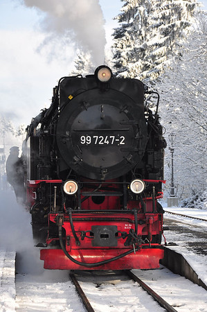 99 7247 having backed onto 10:16 Nordhausen Nord - Brocken service at Drei Annen Hohne (25.01.2014)