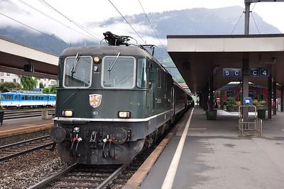 Green Re4/4 II 11161 at Arth-Goldau with train IR2181, 1604 Basel SBB - Locarno (24.08.2013)
