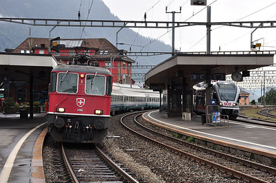 Re4/4 II 11156 at Arth-Goldau with train EC113, 1709 Zürich HB - Milano Centrale (24.08.2013)