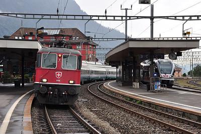 Re4/4 II 11156 at Arth-Goldau with train EC113, 1709 Zürich HB - Milano Centrale (24.08.2013)