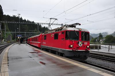 627 at Reichenau-Tamins with train RE1233, 08.44 Disentis/Muster - Scuol-Tarasp (25.08.2013)