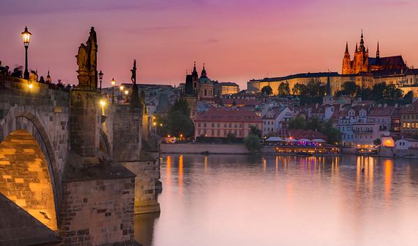 Charles Bridge at Dusk, Prague Czech Republic