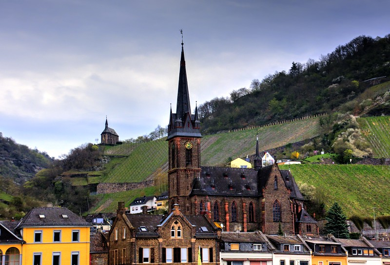Gothic Church in Lorchhausen, Germany  as seen from the Rhine River