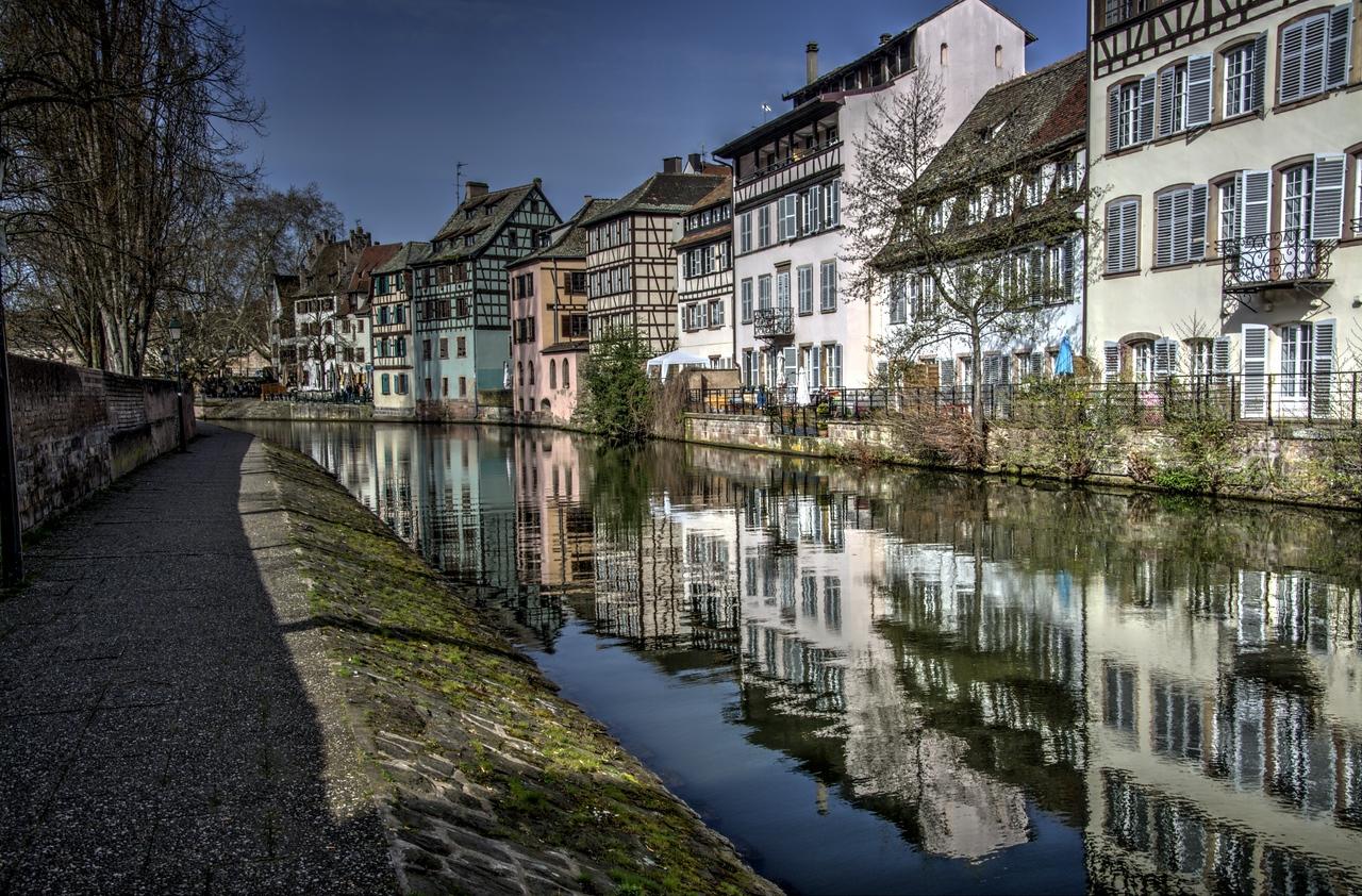 Row Houses along canal at Rue des Moulins Bridge, Strasbourg, France