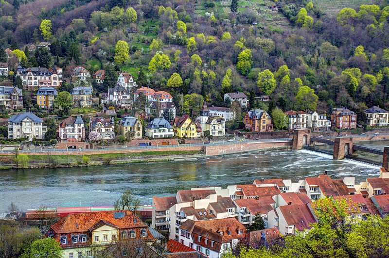 Overlooking the Neckar River viewed from Heidelberg Castle