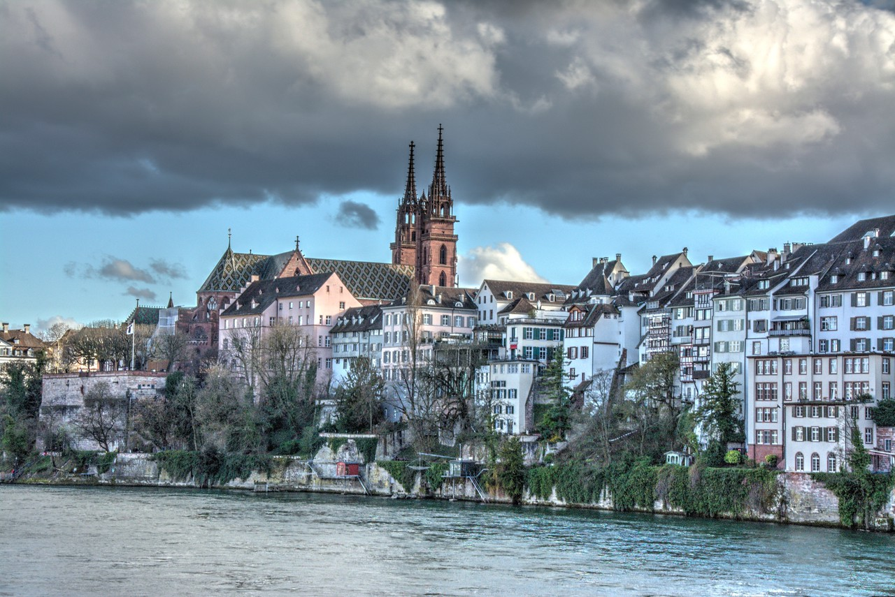 Basel Munster Cathedral overlooking the Rhine River