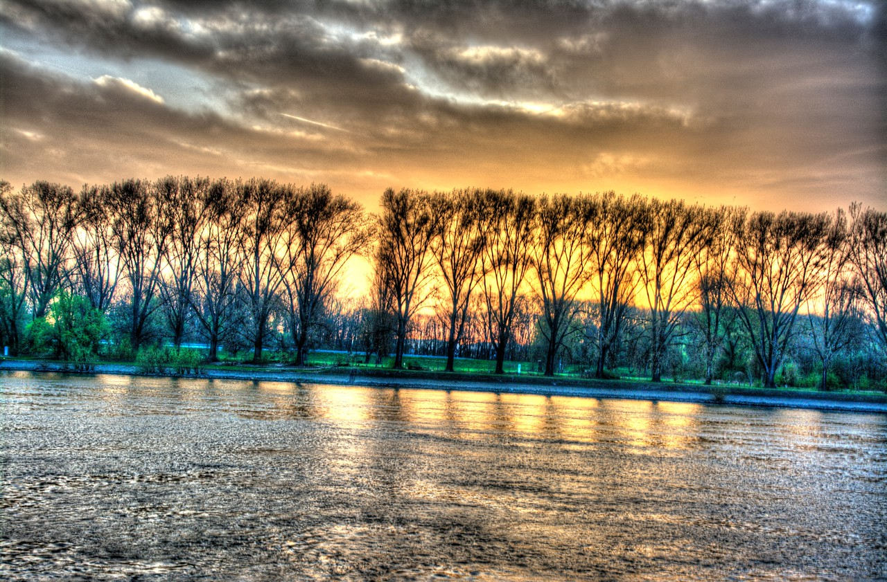 Sunrise over the Rhine at Worms, Germany