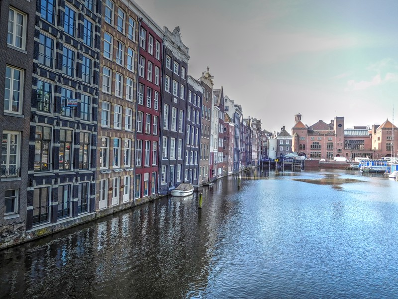 Amsterdam row houses on the Amstel River