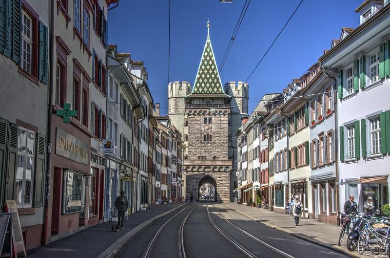 Street inside Spalentor City Gate, Basel