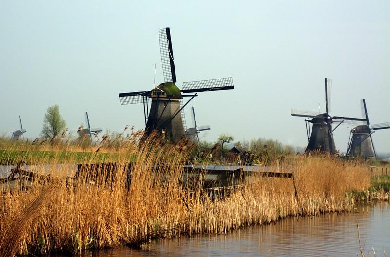 Windmills along the Kinderdijk Canal