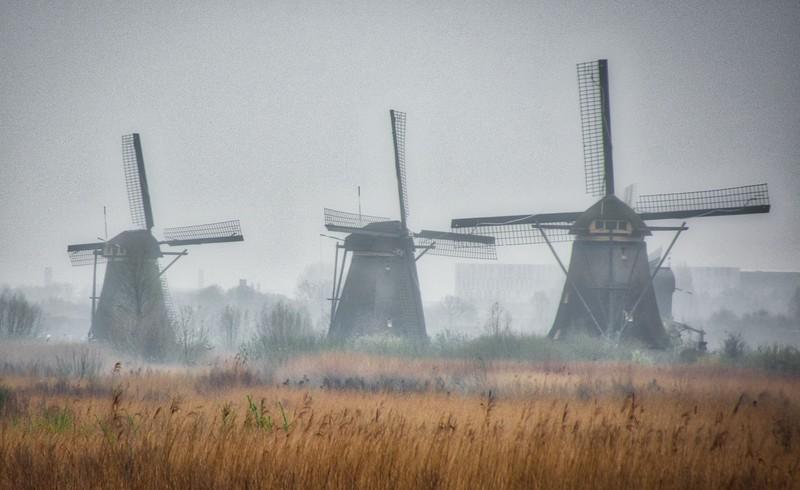 Trio of Windmills at Kinderdijk