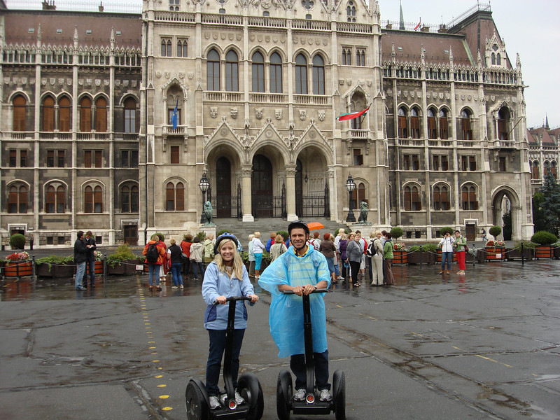A cold rainy Segway tour in front of the Parliament building