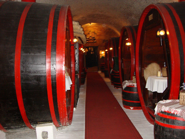 We had dinner at a place where some of the tables were in huge wine barrels