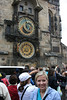 Cathy in front of the Astronomical Clock