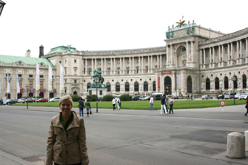 Cathy in front of the Hofburg Palace