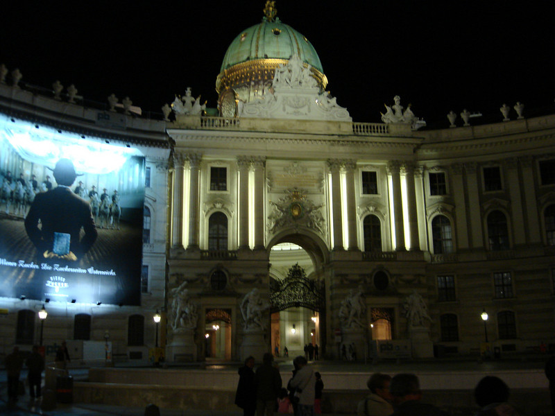 The back entrance to the Hofburg Palace at night