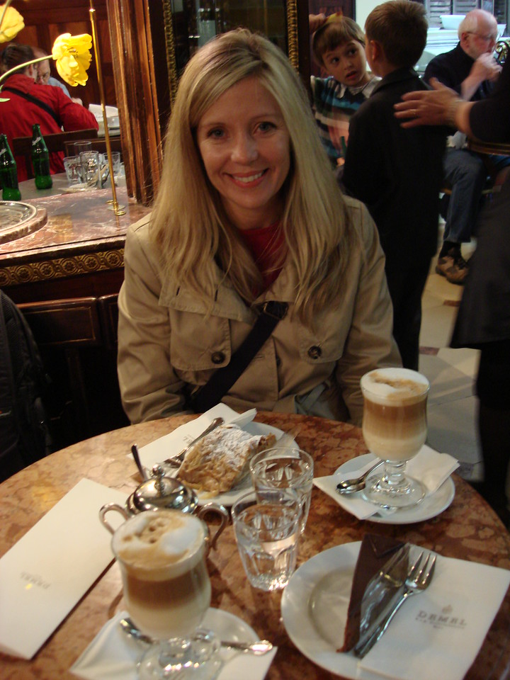 Enjoying the coffee and cakes at Cafe Demel