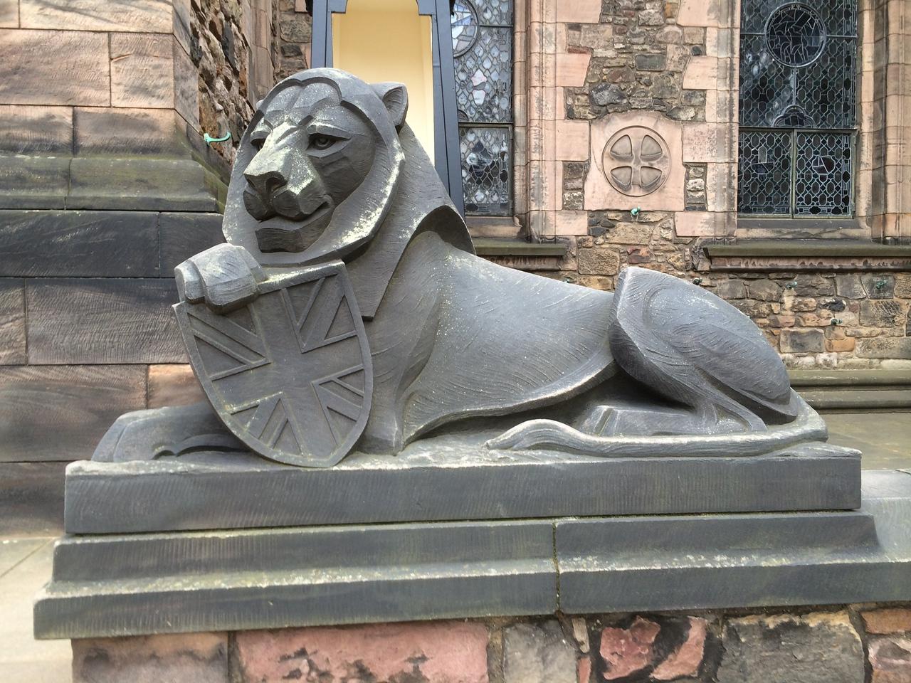 The lion guarding the war memorial