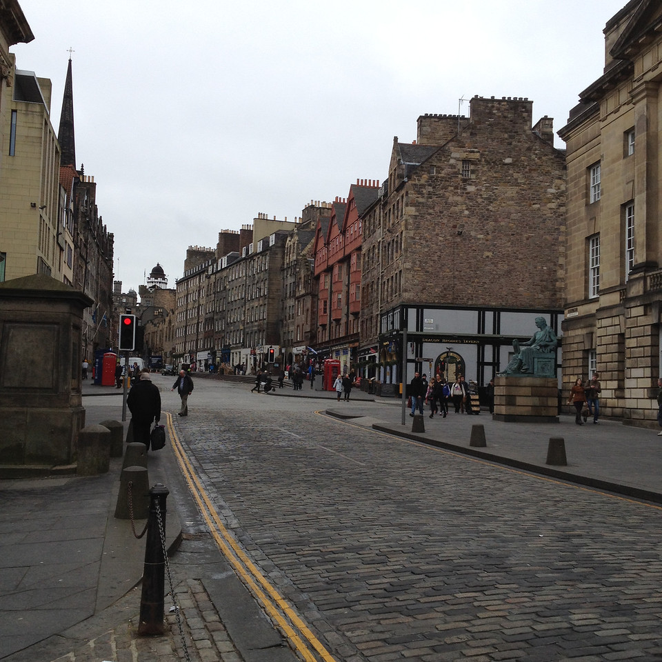 The middle of the Royal Mile in Edinburgh