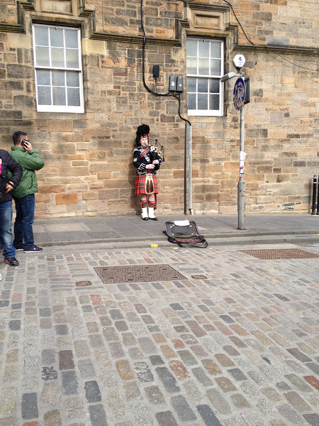 Why not have a random bagpiper playing in the streets of Edinburgh.  He was there for hours.