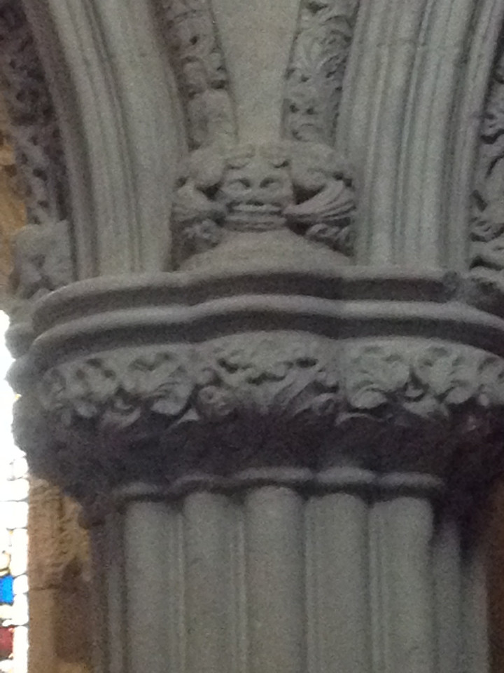 Rosslyn Chapel's Green man (1 of over 110 in the chapel)