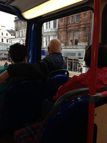 Riding the double-decker bus to Rosslyn Chapel.