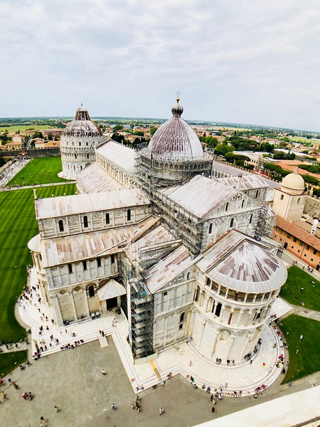 A view of the Basilica of Pisa from the top of the leaning Tower of Pisa