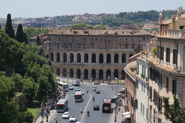 view of Theatre of Marcellus (13 BC) from the Italy Unification monument. Rome, Italy.