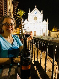 Karen and Andy enjoying the evening on the balcony of their apartment overlooking the Piazza Santa Croce