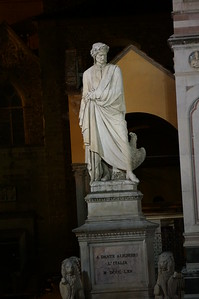 A sculpture of Dante outside of Santa Croce Basilica-Florence, Italy