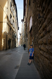 Elias is tired of walking and we had just begun. Florence, Italy