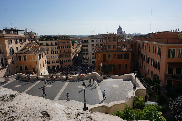"the view from the top of the Spanish steps.  Not quite the ""Rocky steps"" but pretty cool. Rome, Italy."