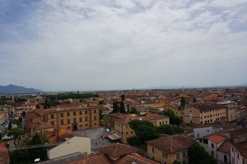 The view from the top of the Leaning Tower of Pisa. I like to think that Galileo had an assistant or two when testing some of his physics hypotheses.