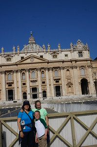 Ella, Elias and Mommy outside St. Peter's Basilica in the Vatacan