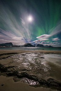 Northern Lights at Haukland Beach, Lofoten, Norway